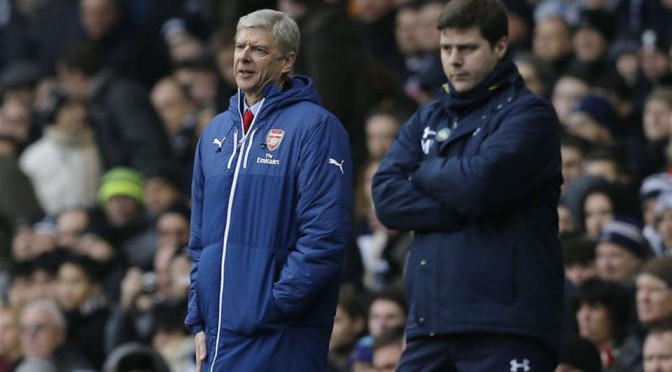 Arsenal manager Arsene Wenger and Tottenham Hotspur manager Mauricio Pochettino