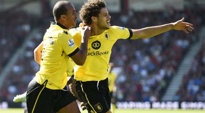 New Aston Villa signing Rudy Gestede celebrates scoring