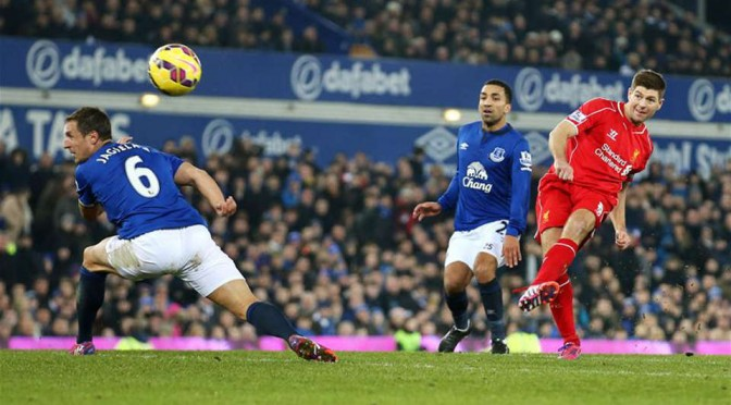 Ex-Liverpool captain Steven Gerrard curls an effort against Everton last season