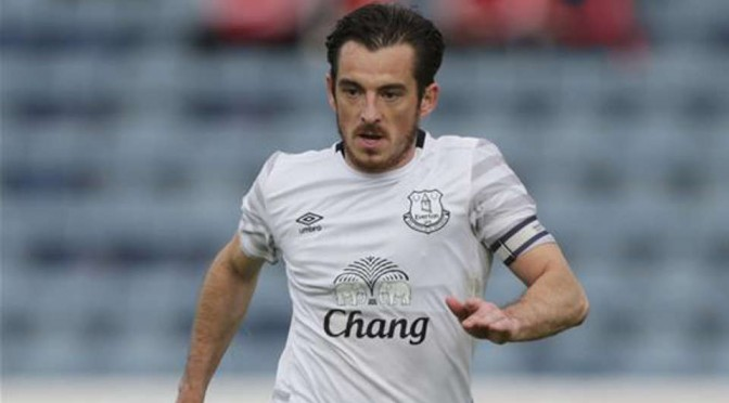 Returning Everton left back Leighton Baines