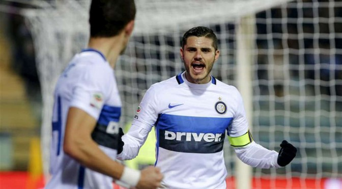 Inter Milan captain and striker Mauro Icardi celebrates scoring