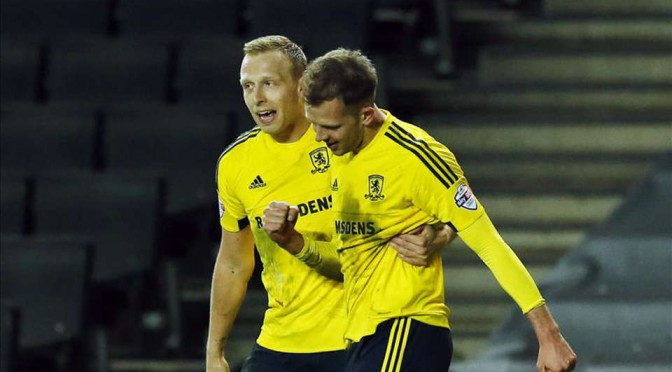 Richie De Laet celebrates a Jordan Rhodes goal for Middlesbrough
